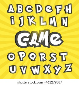 Alphabet letters in pokemon go cartoon style. Typography element template for banners and game assets.