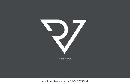 Alphabet letters RV and VR monogram logo
