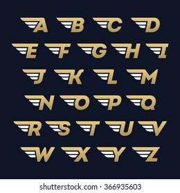 Alphabet letters set with fast wings design element. Corporate branding identity design template on dark blue background. ABC letters collection. Vector illustration