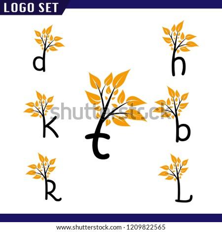 Alphabet Letters Set Tree Leaf Logo Stock Vector Royalty Free