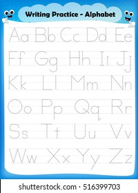 Alphabet letters tracing worksheet with all alphabet letters. Basic writing practice for kindergarten kids