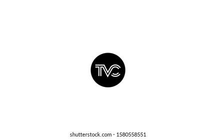 Alphabet letters TVC,VCT,CTV,V,T andC monogram in line art