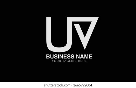 Alphabet Letters UV uv minimalist logo design in  a simple yet elegant font.