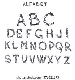 Alphabet Letters Vector Hand Drawn Handwritten Creative Font Modern Lettering