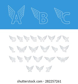 Alphabet letters with wings. Linear design logos. For any transportation services and sports areas