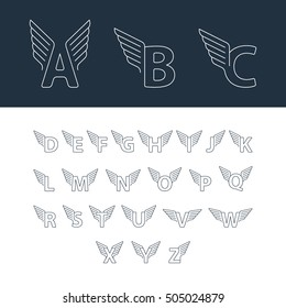 Alphabet letters with wings. Linear design vector set of letters for sport, transport and other fast services