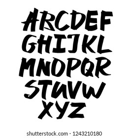 Alphabet letters.Black handwritten font drawn with liquid ink and brush. Calligraphic script vector