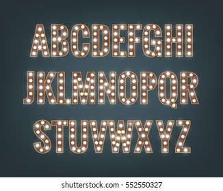 Alphabet with light bulbs. Glowing font with shiny bright lights. Letters with shiny lamps.