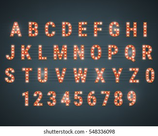 Alphabet with light bulbs. Glowing retro letters and numbers. Typeface with shiny lightbulbs.