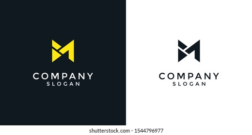 alphabet logo that combines 2 letters into one logo / symbol that is unique and original. consists of letters B and M. editable and easy to custom