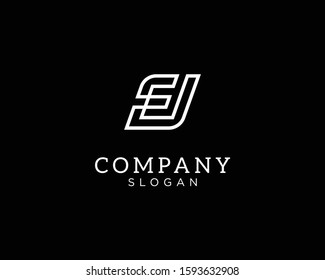 alphabet logo that combines 2 letters into one logo / symbol that is unique and original. consists of letters E and J. editable and easy to custom