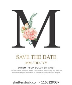 Alphabet M flower font made of paint floral and leaf watercolor on paper. Vector Hand Drawn letter M paint luxury design. Sweet collection for wedding invites decoration card and other concept ideas.