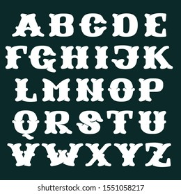 Alphabet made of bones. Vector flat style font for horror labels, posters etc.
