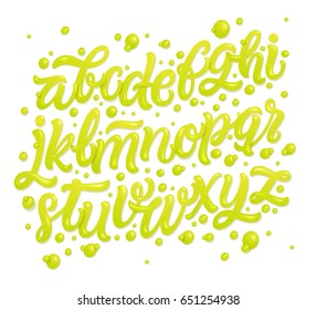 Alphabet made of fresh natural lime juices isolated on white background. Tropical typeface.