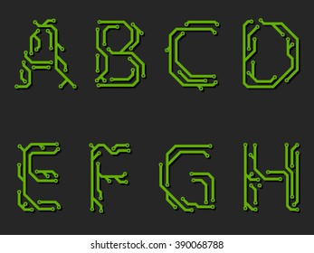 Alphabet made from printed circuit board -first part
