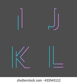 Alphabet maze, U,V,W,X,Y,Z. Typographic alphabet in a set. minimal design on a minimal abstract background