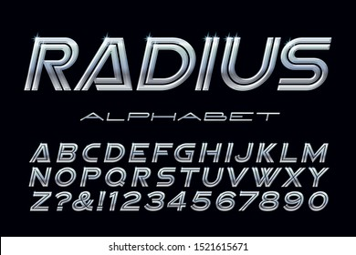 Alphabet with a metallic or chrome effect. This wide vector font has shiny gradients and highlights, and features a high tech or futuristic motorsports look.