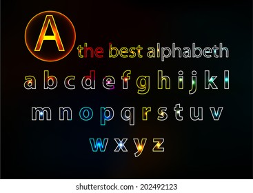 Alphabet, minuscule in neon design on a colored background