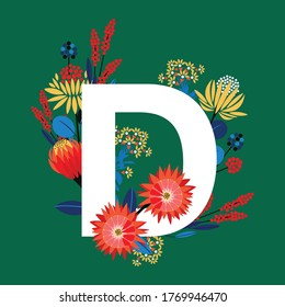 Alphabet modern  D font made of  flowers . Vector EPS10 Big Colourful geometric florals Big letter D Design for invitations wedding card ,decoration ,T-shirt and all graphic type on Fresh green