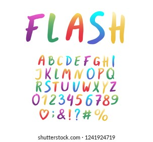 Alphabet modern design. Hand brush font, lettering style. Rainbow color. Letters, numbers and punctuation marks. Bright font for holiday themes. Vector illustration. EPS 10