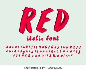Alphabet modern design, Italic font. Hand drawn. Vector letters, numbers and punctuation marks