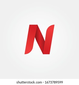 alphabet modern N letter logo using red color concept for brand identity