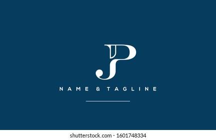 Alphabet monogram icon logo JP or PJ