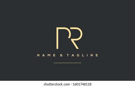 Alphabet monogram icon logo PR,RP
