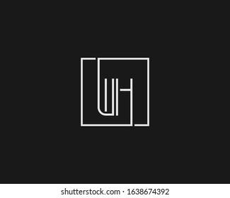 Alphabet monogram icon minimal logo WH wh HW hw