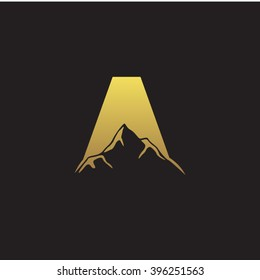 A alphabet mountain negative space letter logo gold black background