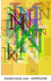 Alphabet N background vector