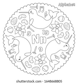 Alphabet N letter coloring page mandala with narwhal, nut, notes, nine, nineteen, nail, narcissus. Vector Illustration.