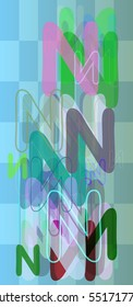 Alphabet N vector background around colorful brochure, complex conclusion between case