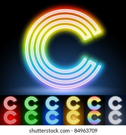 Alphabet of neon tubes. letter c