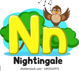 Alphabet Nightingale sings the song letters Nn on a white. Preschool education.