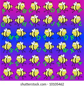 Alphabet and number bee vector individually grouped.