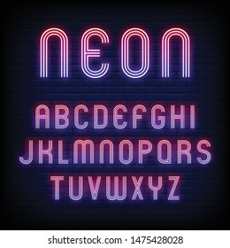 alphabet and number neon sign vector