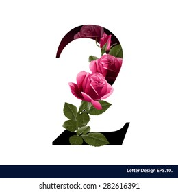 Alphabet number two with flower. Vector illustration.