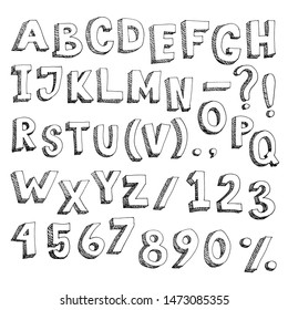 Alphabet and numbers - cartoon hand-drawn graphic type
