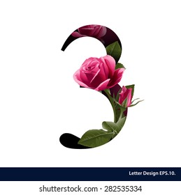 Alphabet numbers with flower. Vector illustration.