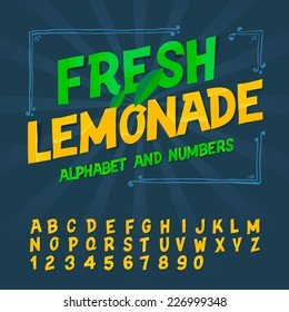 Alphabet and numbers - Fresh lemonade, vector image.