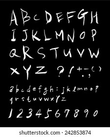 alphabet and numbers - hand drawn in vector / black background Version