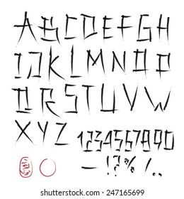 alphabet and numbers hand drawn in vector, handwritten alphabet