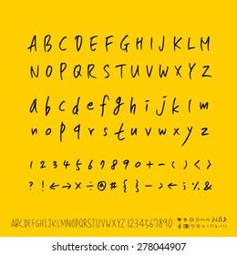alphabet and numbers / Handwritten alphabet - vector