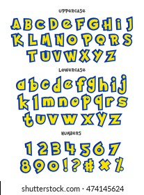 Alphabet, numbers, and phrases Alphabet in pokemon cartoon style