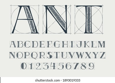 Alphabet and numbers set with construction grid lines. Vector vintage serif character perfect to use in any architecture labels, boutique posters, luxury identity, etc.