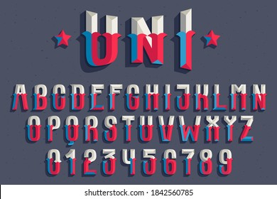 Alphabet and numbers set in faceted old athletic style. You can use it in your sportswear identity, baseball emblem, victory posters, retro university design, and others.
