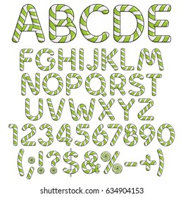 Alphabet, numbers and signs from mint sweets. Isolated colored vector objects on white background.