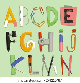 Alphabet with Office Supply Objects, vector illustration cartoon. A, B, C, D, E, F, G, H, I, J, K, L, M, N
