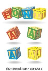 alphabet on a cubes. a.